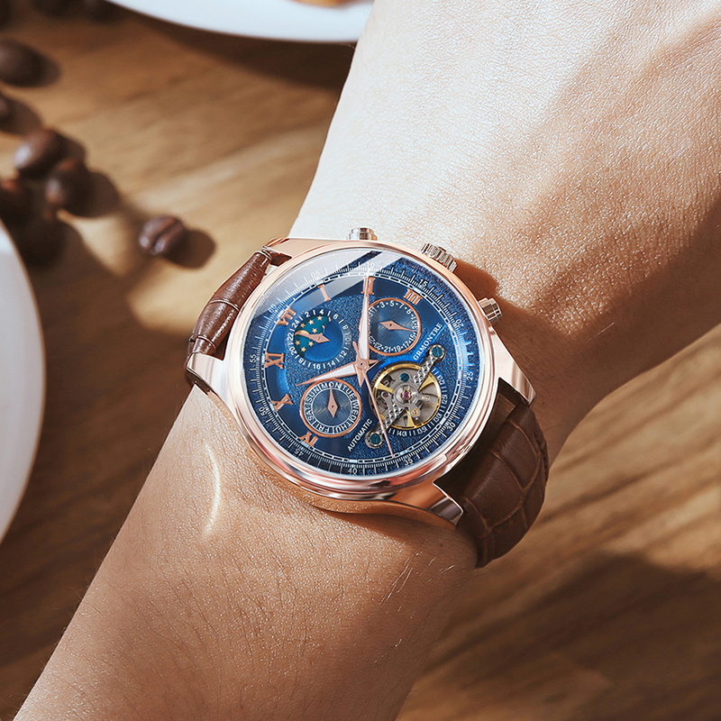 2019New Mens Watches Top Luxury Brand Automatic Mechanical Watch Men Leather Business Waterproof Sport Watches Relogio