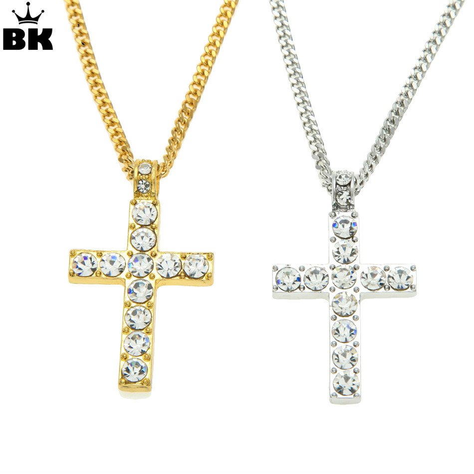 Drop Shipping Hip Hop Alloy Cross Pendant Necklace Iced Out Rhinestone Gold Silver Tone Crucifix Charm Jewelry rhinestone alloy honeybee glaze pendant necklace