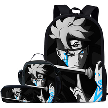 Jackherelook 3Pcs/Set Anime Boruto Naruto Print School Bags For Boys Girls Kids Backpack Student Bookbags Child Schoolbag