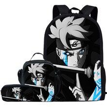 Jackherelook 3Pcs/Set Anime Boruto Naruto Print School Bags