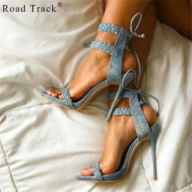de53cec567fb RoadTrack Women Summer Nude Ankle Strap Sandals Peep Toe Sandals Weave Strap  Concise Classic High Heels Party Casual XWB0174-5