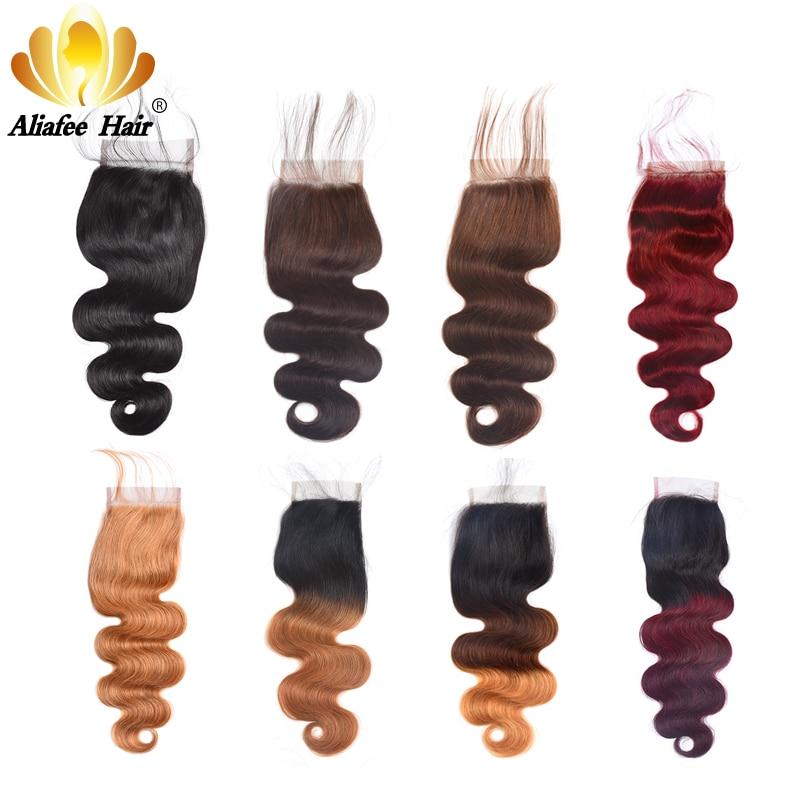 AliAfee Hair #1b/#2/#4/#27/#99/#Burgundy 4*4 Swiss Lace Closure Brazilian Body Wave 130% Density Remy Human Hair 8''-20