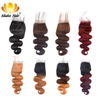 AliAfee Hair #1b/#2/#4/#27/#99/#Burgundy 4*4 Swiss Lace Closure Brazilian Body Wave 130% Density Remy Human Hair 8'' 20