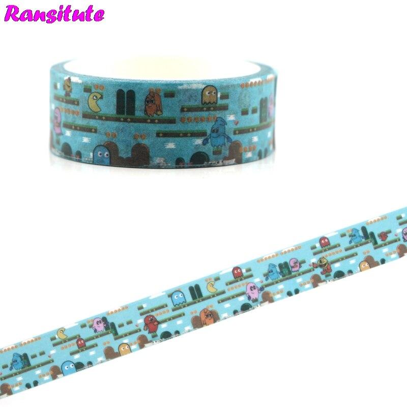 Ransitute R477 Pacman Game Cartoon Cute Children's Toy Washi Tape Traffic Tape Toy Car Decoration Hand Account Sticker