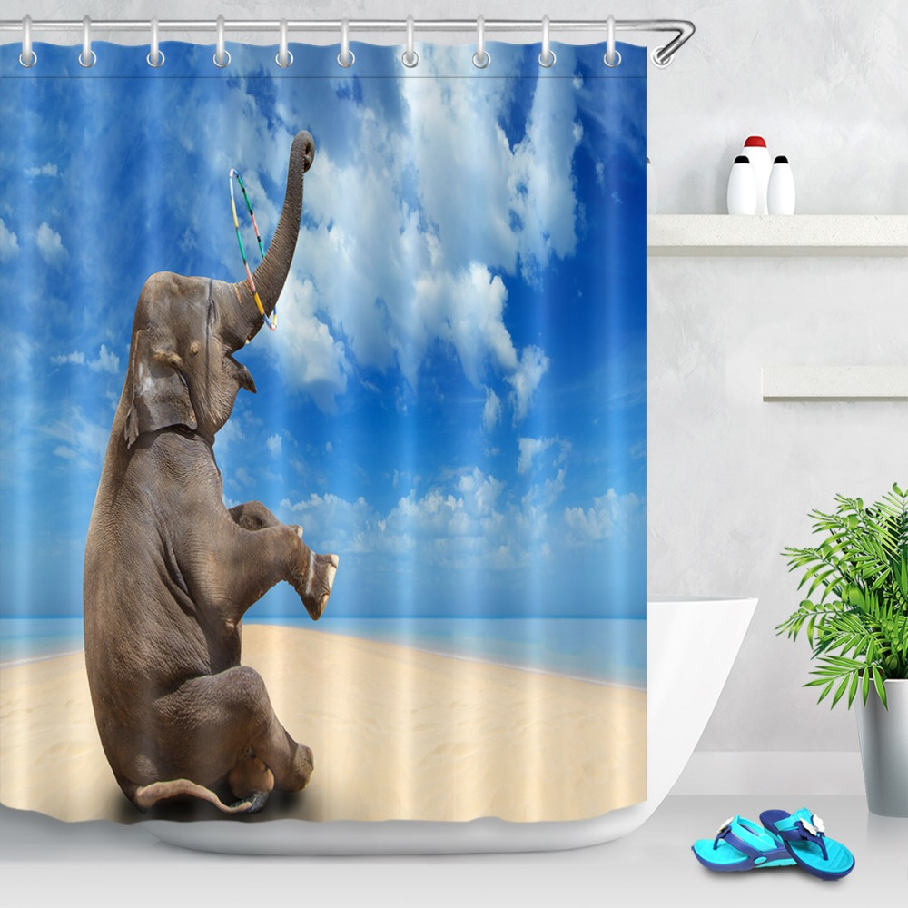 "Cute Blue Car Eiffel Tower Design Shower Curtain Bathroom Waterproof Fabric 72/"""