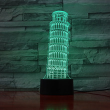 Usb 3d Led Night Light Leaning Tower of Pisa Atmosphere Lamp Decoration Kids Baby Gift Torre di Table Bedside