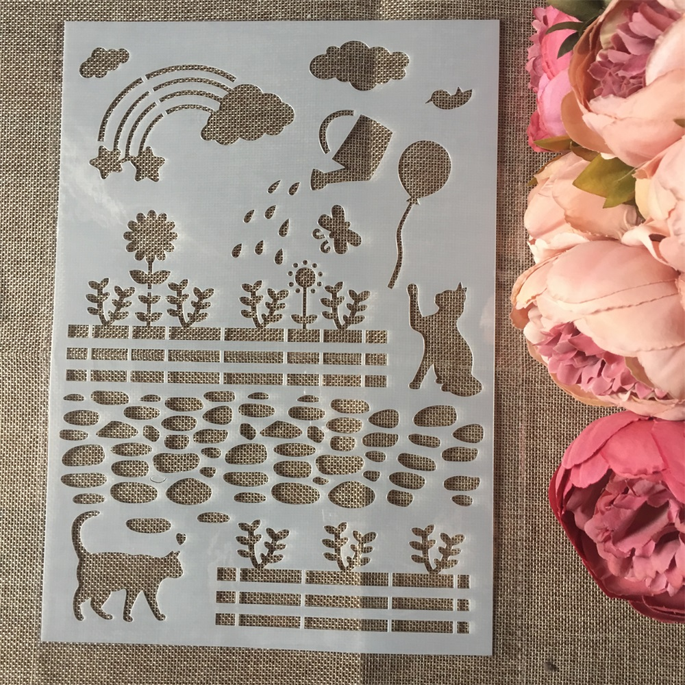 1Pcs A4 Cat Rainbow Garden DIY Layering Stencils Wall Painting Scrapbook Coloring Embossing Album Decorative Card Template