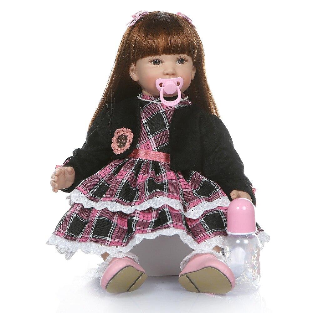 6 mes tamaño bebé real 60 CM renace niño chica realista de silicona de vinilo bebe muñeca de pelo largo y recto juguete de la educación-in Muñecas from Juguetes y pasatiempos    2