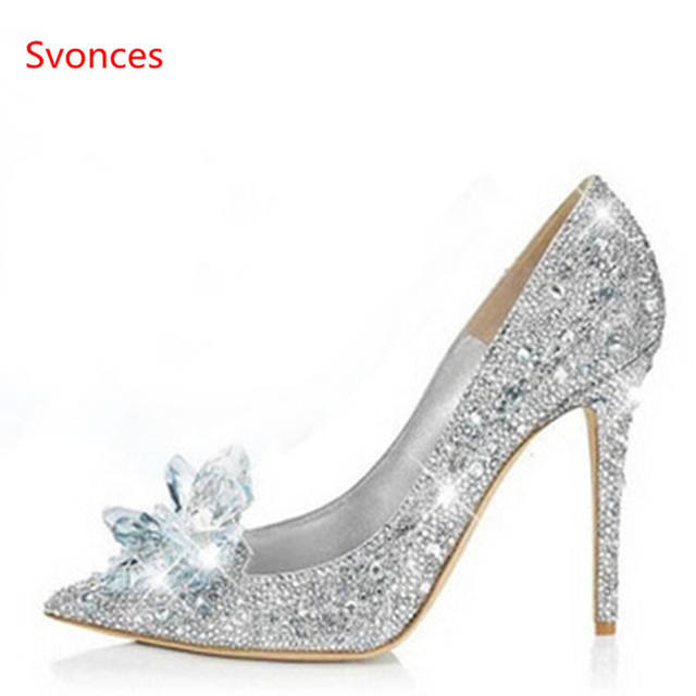 Classical Cinderella Glass Sandals Crystal Wedding Bridal Shoes high Thin  heels Pointed Toe pumps Rhinestone Sweet Women Shoes 5d6a3cb4e113