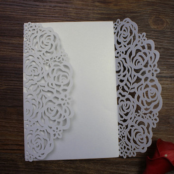 Laser cut wedding invitations card pearl paper rose party invite 100pcs