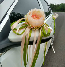 12PCS/Lot Wedding Car Decoration Artificial Flower Door Handles and Rearview Mirror Decorate Romantic Silk Fake Flowers