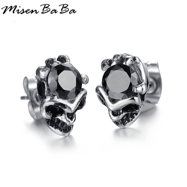 Cool men jewelry crystal stud earrings black earring for