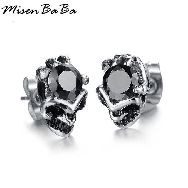 Cool Men Jewelry Crystal Stud Earrings Black Earring For Stainless Steel Skull