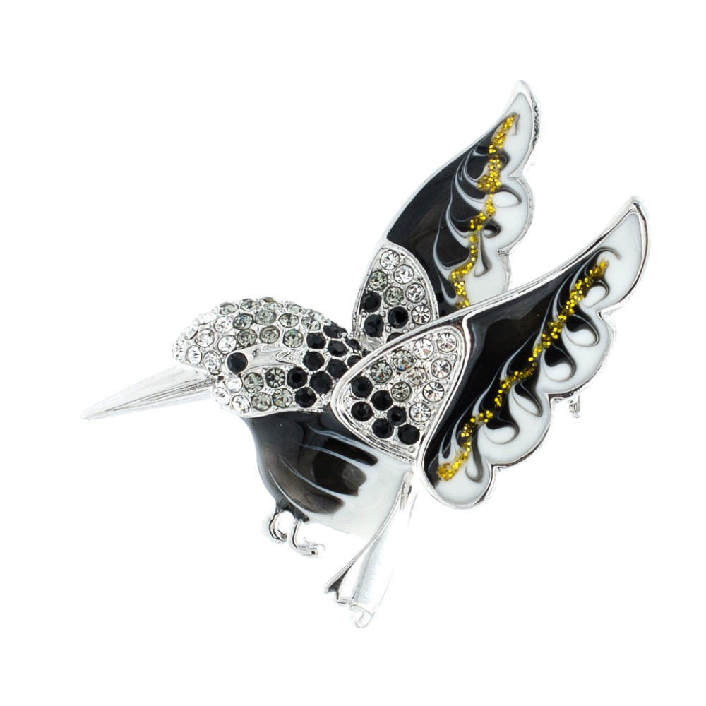 Black Hummingbird Brooch Animal Broach Crystals Rhinestone Pins for Women Jewelry Accessories Birthday Gifts 93301
