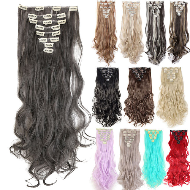 Snoilite 8pcsset 24inch 180g Curly 18 Clip Ins Synthetic Hair