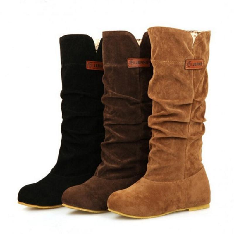 a3a883617 Redondo Senhoras Sapatos Joelho 43 Dedo Pé Calçado Botas 35 Do De Inverno  Longas Plana Da ...
