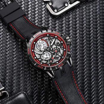 ONOLA Men's Unique Design Limited Military Black Mechanical Waterproof Japan Movement Quartz Watches 4