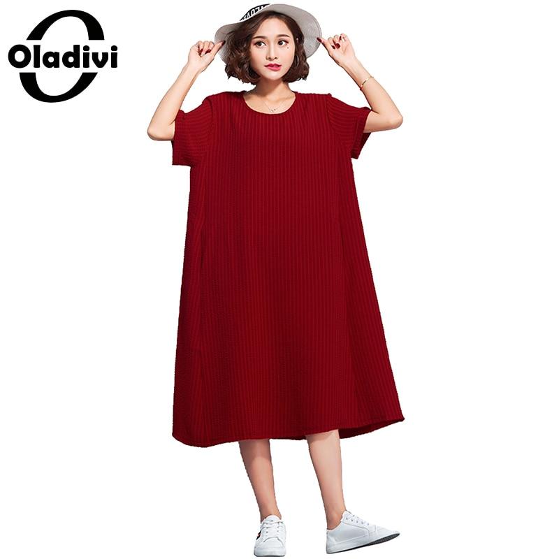 17acfc7961bd0 Oladivi Big Size Women Apparel Casual Loose Shirt Dress Ladies Free Style  Dresses Long Tunic 2018 Summer New Vestido Femininos