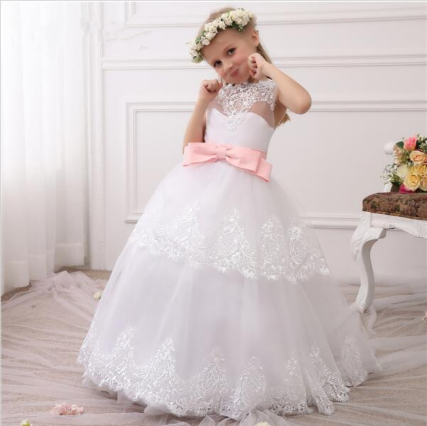 New Little Princess White Lace Flower Girl Dresses Pink Ribbon Girls First Communion Dress Birthday Gown Custom Made Any SizeNew Little Princess White Lace Flower Girl Dresses Pink Ribbon Girls First Communion Dress Birthday Gown Custom Made Any Size