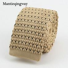 Mantieqingway New Knitted Ties for Men Business Casual Skinny Ties Polka Dots Knitted Navy Blue Ties Mens Slim Weeding Neckties
