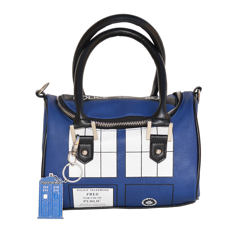 FAIRY SERAPHIM Doctor Who Bag Tardis Shoulder Keychain Metal Crossbody Handbag in PU Leather