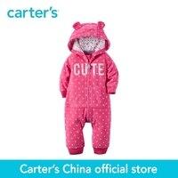 Carter 1 pz bambino dei capretti dei bambini dei vestiti ragazza autunno & inverno Incappucciato del Panno Morbido Tuta orecchie 3D luminoso fleece tuta 118G642