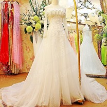 Discount Women's Luxurious Bridal Gown Appliques Corset Back Off Shoulder Long Sleeves Wedding Dress With Beadings LW013
