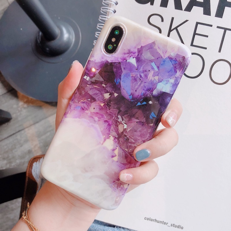 Purple crystal Marble Case for iphone X XR XS XS Max case Glossy soft TPU case for iphone 6 6s 7 8 7plus cover capa funda in Fitted Cases from Cellphones Telecommunications