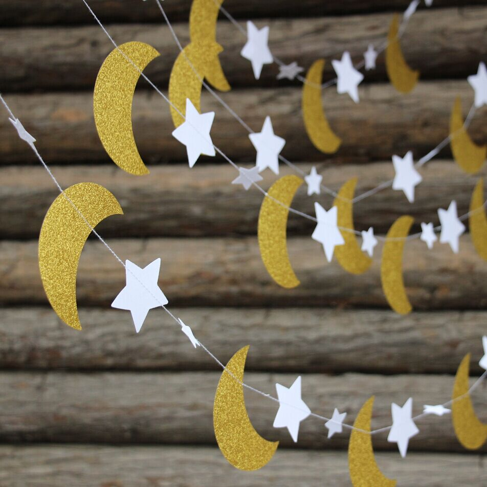 Twinkle Twinkle Little Star Decorations Navy Gold Star Moon Garlands Glitter Outer Space Birthday Decorations Hanging Decorations Honey Moon WeddingTwinkle Twinkle Little Star Moon Baby Shower Decorations