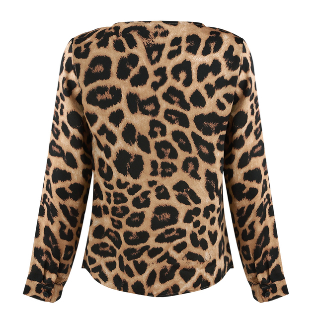 Vogue Women Ladies Leopard Print Loose Long Sleeve V-Neck Sexy Tops Blouses Female Fashion Shirts Blouses Top Clothing 4