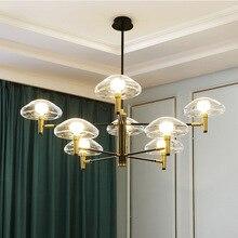 Pós moderna conduziu a iluminação lustre de vidro ferro jantar deco luminárias sala estar pingente lâmpadas quarto pendurado luzes