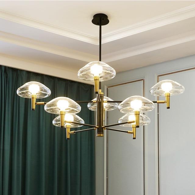 Postmoderne Led Kroonluchter Verlichting Ijzer Glazen Eettafel Deco Armaturen Woonkamer Hanger Lampen Slaapkamer Opknoping Lichten
