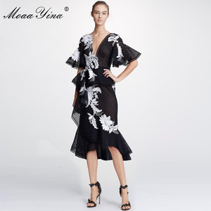 Image 3 - MoaaYina Fashion Designer Runway dress Spring Summer Women Dress Floral Embroidery Package buttocks Mermaid Dresses