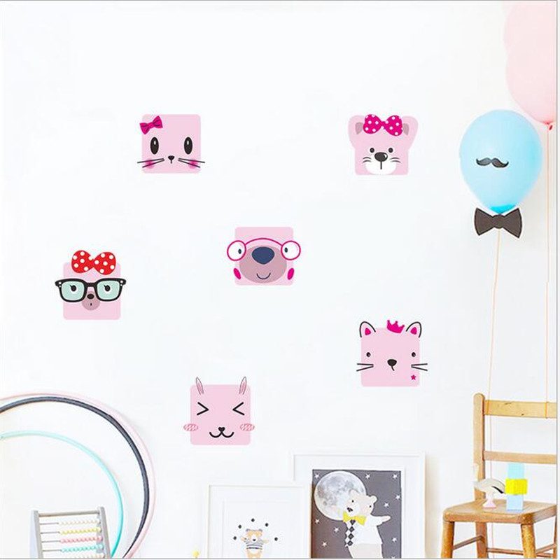 2PCS Cute cartoon cat wall sticker Pink cat children 39 s room decorationstoilet bathroom decorative decals decor poster PVC mural in Wall Stickers from Home amp Garden