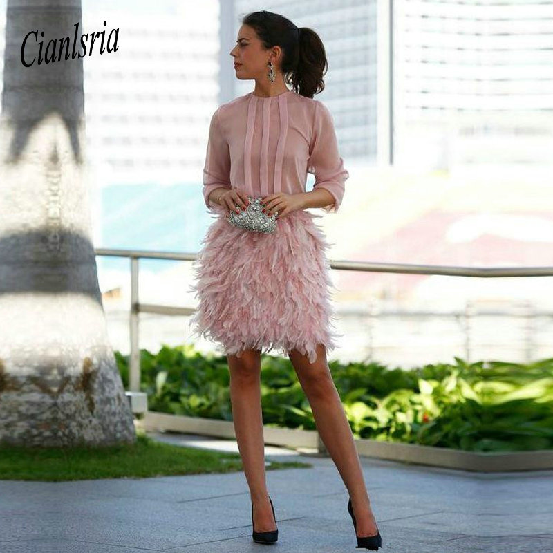 Pink 2020 Elegant Cocktail Dresses Sheath Half Sleeves Chiffon Feather Bow Elegant Short Homecoming Dresses