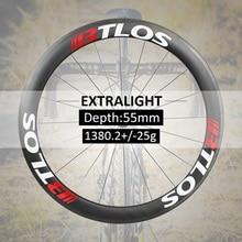 700c wheelset Extralight carbon wheels 1380g  55mm deep clincher 26mm wide U shape tubeless compatible - WRC-55L