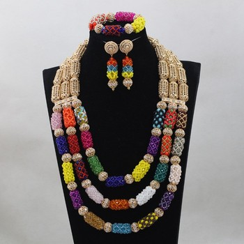 Best Sale Nigerian Wedding Beads Charming African Plastic Necklace Sets Handmade Design Free Shipping QW912