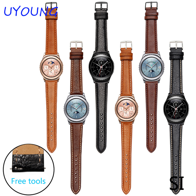Para samsung gear s2 s3 clássico/forntier alta qualidade genuína pulseira de couro pulseira de couro 20mm 22mm inteligente