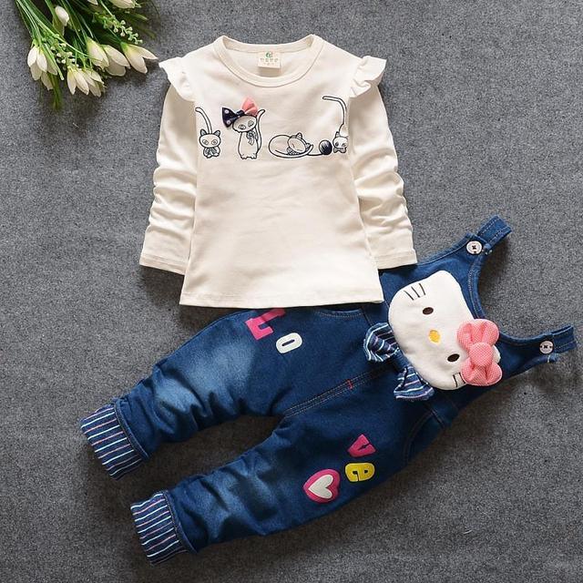 2017 Новая Горячая Весна Новорожденных Девочек Одежда Набор Детей Джинсовые комбинезоны джинсы брюки + Блузка Полный Рукав Twinset Детская Одежда набор