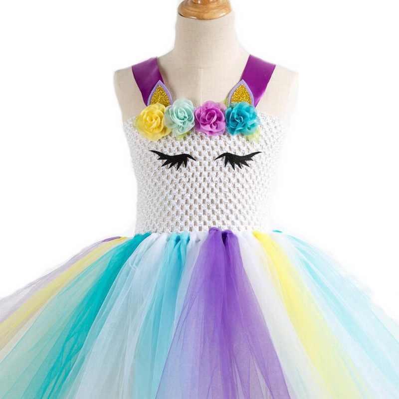 Радужные костюмы единорогов, платье-пачка с лентой для волос, праздничное платье принцессы для девочек Детский костюм единорога на Хэллоуин, От 2 до 10 лет