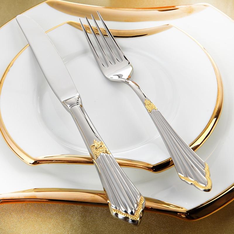 Juego de cubiertos chapados en oro 24 piezas de lujo Juegos de cena - Cocina, comedor y bar - foto 3