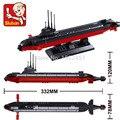 Submarino NUCLEAR Sluban M38-B0391 Army NAVY buque de guerra modelo DIY ladrillos bloques de juguetes de regalo Compatible con Legoe