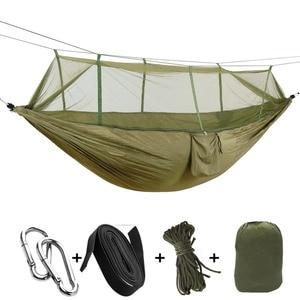 Image 5 - 屋外ハンモック蚊帳で保持することができ 300 キロ超強力ぶら下げ Hamak ハイキングクライミング用旅行キャンプ Hamac