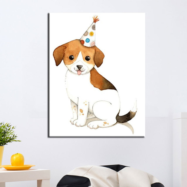 US $6.37 47% OFF|Niedlichen Hund Leinwandbilder Wandbilder Für Wohnzimmer 1  Panel Leinwandbilder Für Kinderzimmer Ungerahmt Weiß Öl malerei in ...