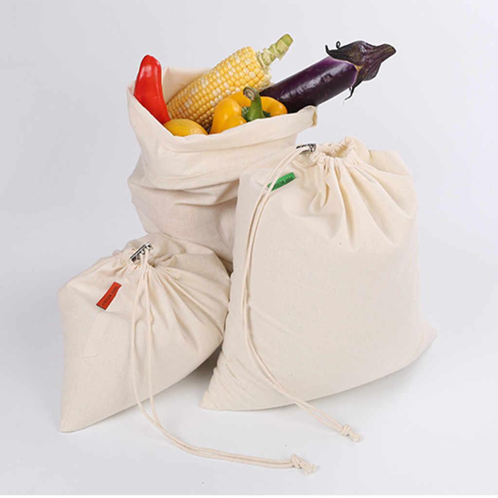 Drawstring Bundle Cotton Canvas Bag Bread Fruit Vegetable Shopping Bag Reusable Home Storage Eco Friendly Pouch Bolsas De Tela