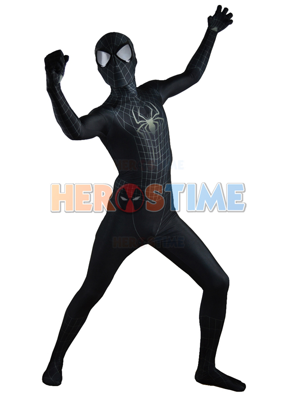 Spiderman 2 Black Costume Black Spider-Man Morph Fullbody Suit,3D Original Movie Halloween Cosplay Spandex Spiderman Zentai Suit