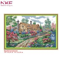 NKF Cross Stitch Kits Printed Fabric 11/14CT Beautiful homeland Needle Crafts DIY Handmade Gift Wall Painting