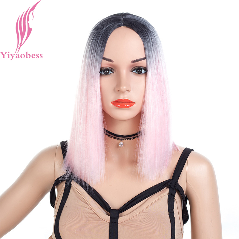 Yiyaobess 16inch Medium Long Bob Wig Black Pink Ombre Hair Synthetic Natural Grey Straight Womens Wigs For African Americans