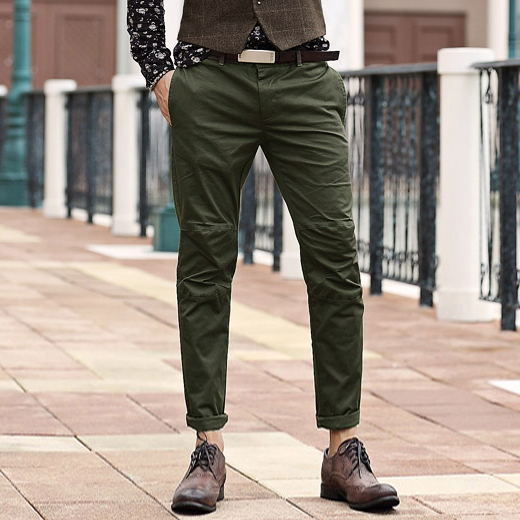 f47aa5bd1 men Pants Men s Slim Fit Casual Narrow Pants Fashion Straight Dress Pants  Skinny Smooth Army Green