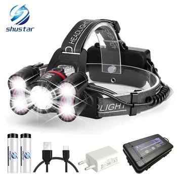 5 LED super luminosi a led del faro 10000 lumen led headlighr 4 modalità di interruttore della lampada di pesca Impermeabile faro del faro + 2x18650 batterie